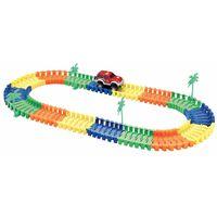 Circuito flexible - 96 carriles + 1 coche + Acc.: 4 palmeras...