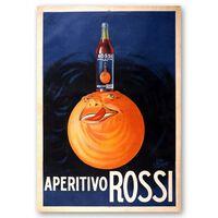 Cartel Publicitario Vintage Aperitivo Rossi - Cuadro Lienzo