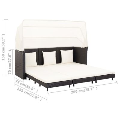 vidaXL Sofá cama de jardín 3 plazas con capota ratán sintético negro