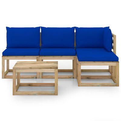 vidaXL Juego de muebles jardín de 5 piezas con cojines azul