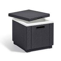 Allibert Tabuerete nevera en forma de cubo color grafito 213828