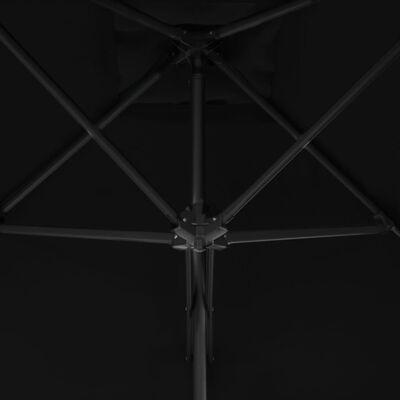 vidaXL Sombrilla de jardín con palo de acero negro 250x250x230cm