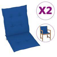 vidaXL Cojines para sillas de jardín 2 unidades azul klein 100x50x4 cm