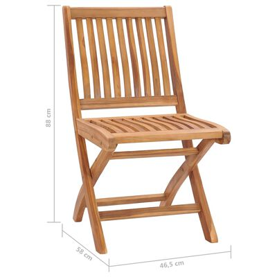 vidaXL Sillas de jardín plegables 8 uds madera maciza teca con cojines