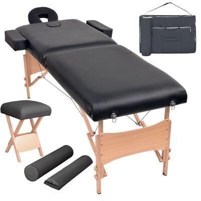 vidaXL Set mesa plegable masaje y taburete 2 zonas 10 cm grosor negro