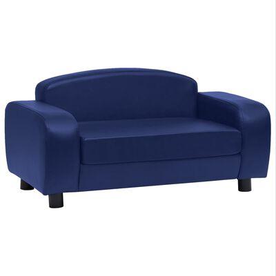 vidaXL Sofá para perros cuero sintético azul 80x50x40 cm