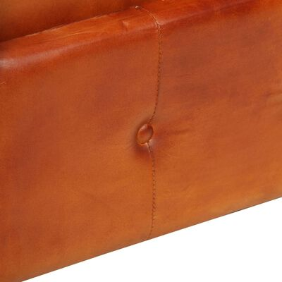 vidaXL Sillón Chesterfield de cuero auténtico marrón canela