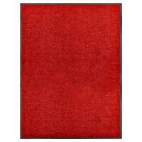 vidaXL Felpudo lavable rojo 90x120 cm