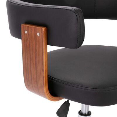vidaXL Silla de comedor giratoria madera curvada cuero sintético negro