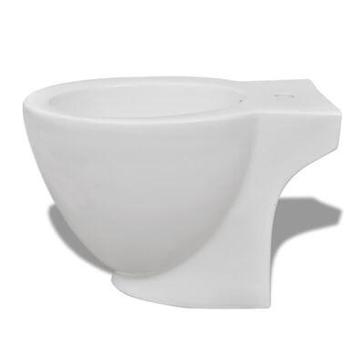 vidaXL Bidé de pie redondo de cerámica de alta calidad blanco