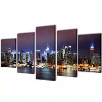 Set decorativo de lienzos para pared Nueva York noche 200 x 100 cm