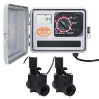 vidaXL Controlador de riego de agua para jardín con 2 válvulas solenoides