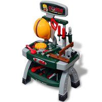 Mesa de trabajo de juguete para niños con herramientas (Verde + Gris)