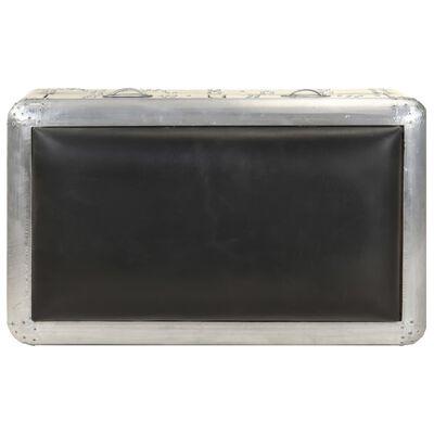 vidaXL Banco de aviador cuero auténtico negro y plateado 59 cm