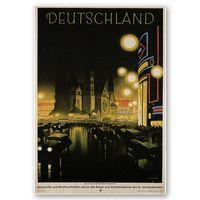 Cartel Turístico Vintage Deutschland - Cuadro Lienzo Impresión Digital