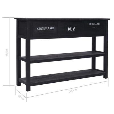 vidaXL Aparador de madera negro 115x30x76 cm