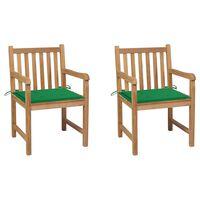vidaXL Sillas de jardín 2 uds madera maciza de teca con cojines verdes