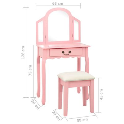 vidaXL Tocador y taburete madera paulownia y MDF rosa 65x36x128 cm