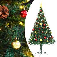 vidaXL Árbol Navidad artificial decorado bolas luces LED 150 cm verde