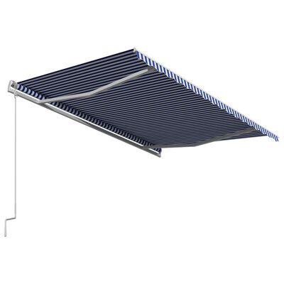vidaXL Toldo automático retráctil azul y blanco 450x300 cm