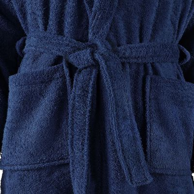 vidaXL Albornoz de rizo unisex 100% algodón azul marino talla S