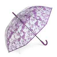 Paraguas Mujer Largo Estampado Transparente Antiviento Morado