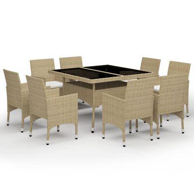 vidaXL Muebles de jardín 9 piezas ratán sintético y vidrio beige