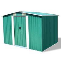 vidaXL Caseta de jardín de metal 257x205x178 cm verde