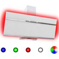vidaXL Campana extractora RGB de LED acero inox. vidrio templado 90cm