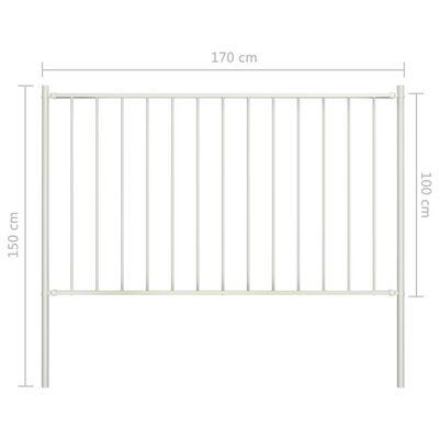 vidaXL Panel de valla y postes acero recubrimiento polvo blanco 1,7x1m