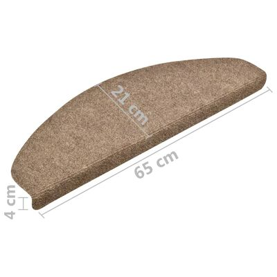 vidaXL Alfombrilla autoadhesiva de escalera 10 uds 65x21x4 cm crema