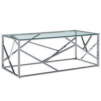 vidaXL Mesa de centro vidrio templado y acero inoxidable transparente