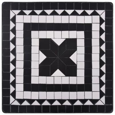 vidaXL Mesa y sillas de bistró 3 pzas mosaico cerámica negro y blanco