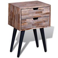 vidaXL Mesita de noche con 2 cajones de madera de teca reciclada