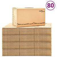 vidaXL Cajas de mudanza 80 unidades cartón XXL 60x33x34 cm