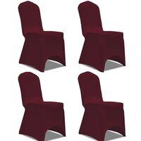 vidaXL Funda para silla elástica 4 unidades burdeos
