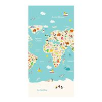 Good Morning Toalla de playa WORLDMAP azul claro 75x150 cm