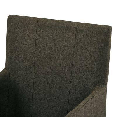 vidaXL Sillas de comedor con reposabrazos 6 unidades tela marrón