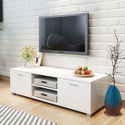vidaXL Aparador para TV alto brillo blanco 140x40,3x34,7 cm