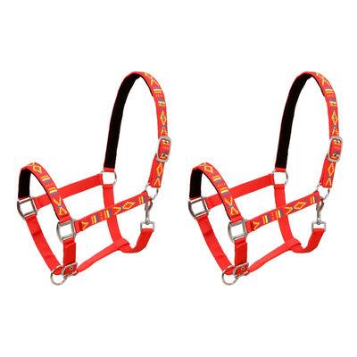 vidaXL Cabezadas de caballo nylon tamaño grande rojo 2 unidades