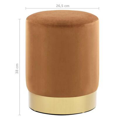 vidaXL Taburete de terciopelo marrón y dorado