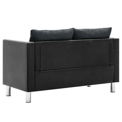 vidaXL Sofá de 2 plazas de cuero sintético negro y gris oscuro