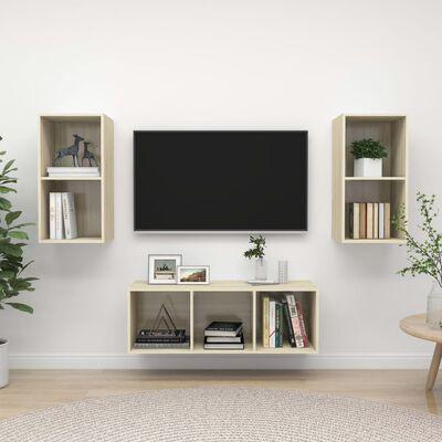 vidaXL Muebles de pared de TV 3 pzas aglomerado color roble Sonoma
