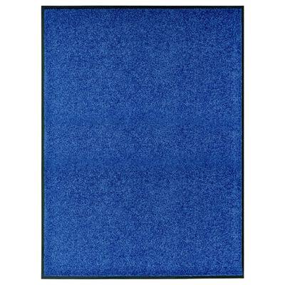 vidaXL Felpudo lavable azul 90x120 cm