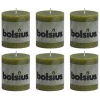 Bolsius Velas rústicas 6 unidades verde oliva 80x68 mm