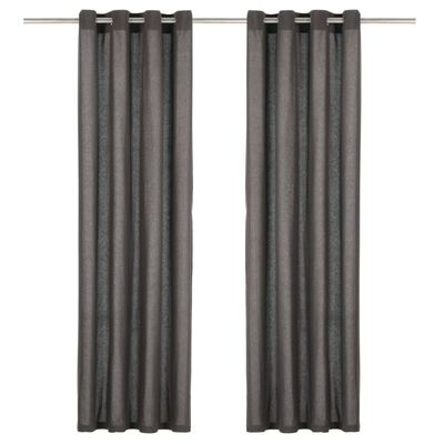 vidaXL Cortinas con anillas de metal 2 uds algodón antracita 140x245cm