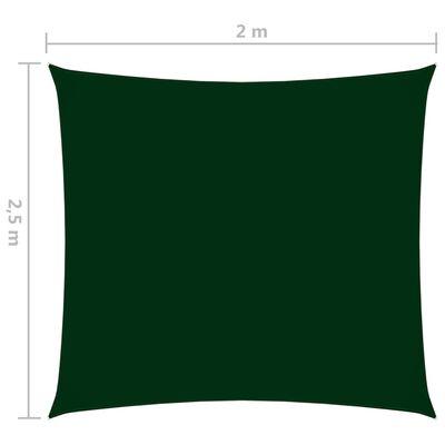 vidaXL Toldo de vela rectangular tela oxford verde oscuro 2x2,5 m
