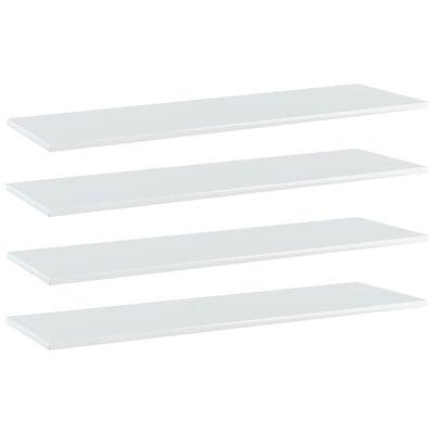 vidaXL Estantes estantería 4 uds aglomerado blanco brillo 100x30x1,5cm