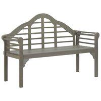 vidaXL Banco de jardín de madera de acacia maciza gris 135 cm