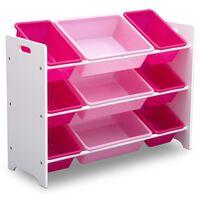 Delta Children MySize Organizador juguetes plástico 9 cubos blanco rosa